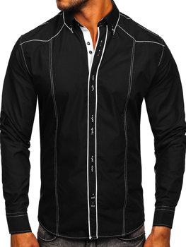 Чорно-біла елегантна чоловіча сорочка з довгим рукавом Bolf 4777