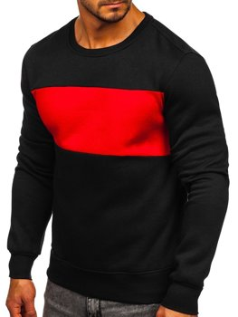 Чорно-червона чоловіча толстовка без капюшона Bolf 2020