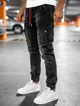 Чорні чоловічі джинси джоггери карго slim fit Bolf 61037W0