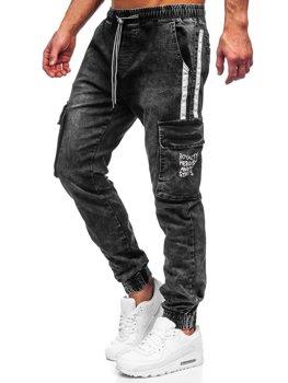 Чорні чоловічі джинсові джоггери-карго Bolf TF054