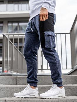 Штани чоловічі спортивні джоггери темно-сині Bolf Q3774