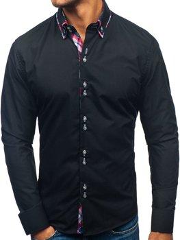 Элегантная мужская рубашка с длинным рукавом черная Bolf 2712