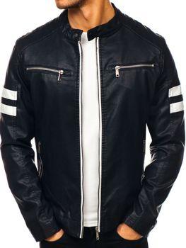 чоловіча кожана куртка чорна Bolf 1075-A