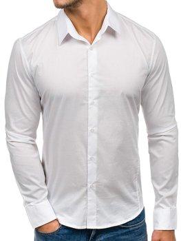 Біла елегантна чоловіча сорочка з довгим рукавом Bolf 142