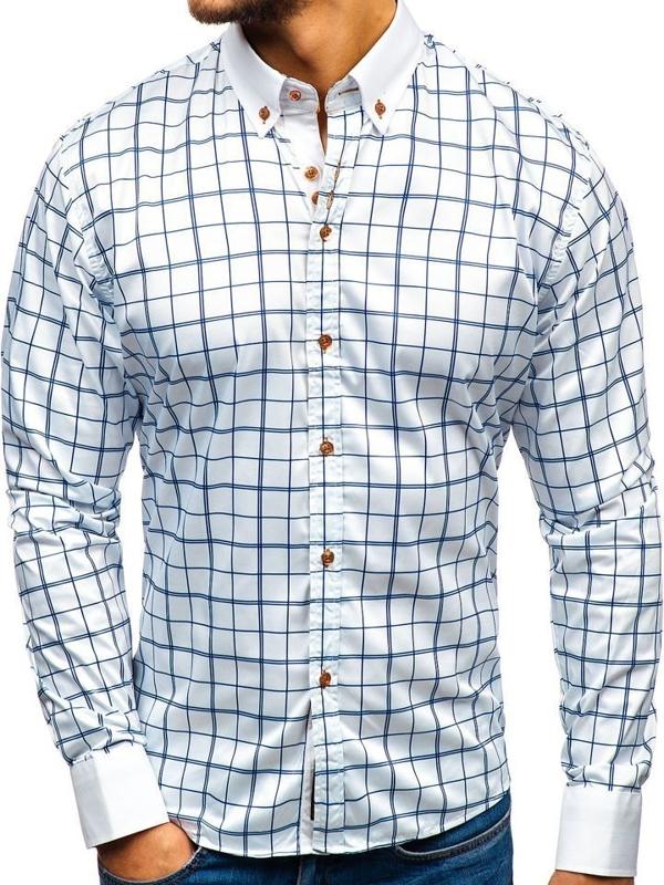 Елегантна чоловіча сорочка з довгим рукавом біло-темно-синя Bolf 8842-1