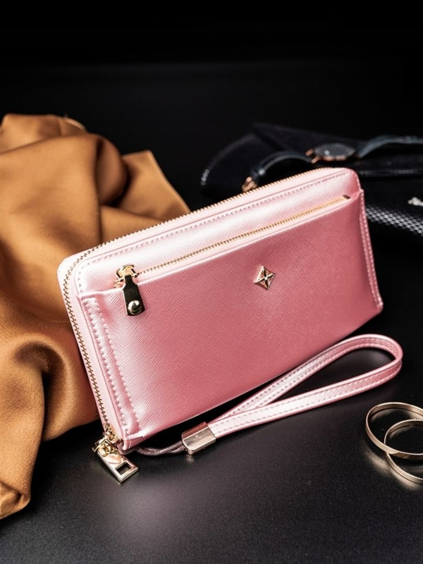 Жіночий гаманець з еко шкіри рожевий 1810