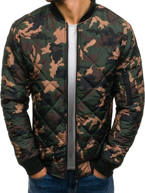 Куртка чоловіча демісезонна бомберка камуфляж-зелена Bolf AK97