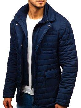 Куртка чоловіча демісезонна елегантна темно-синя Bolf EX201