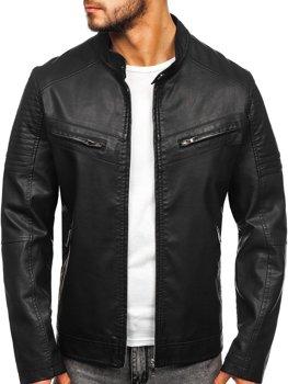 Куртка чоловіча шкіряна чорна Bolf 1125