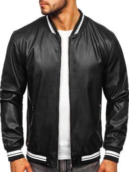 Куртка чоловіча шкіряна чорна Bolf 1132