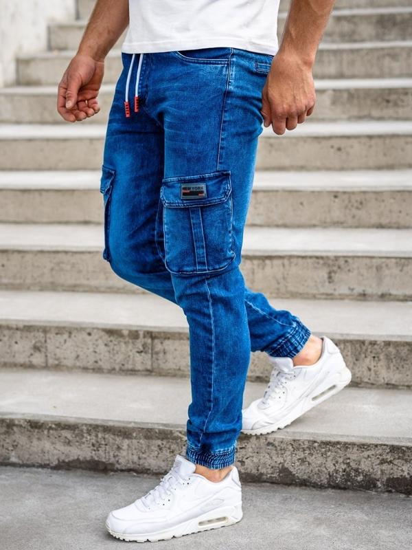 Темно-сині чоловічі джинсові штани джоггери-карго Bolf HY688