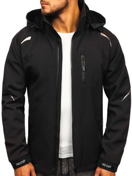 Чоловіча демісезонна куртка софтшелл чорна Bolf P821