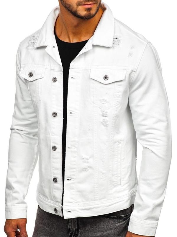 Чоловіча джинсова куртка біла Bolf 55111
