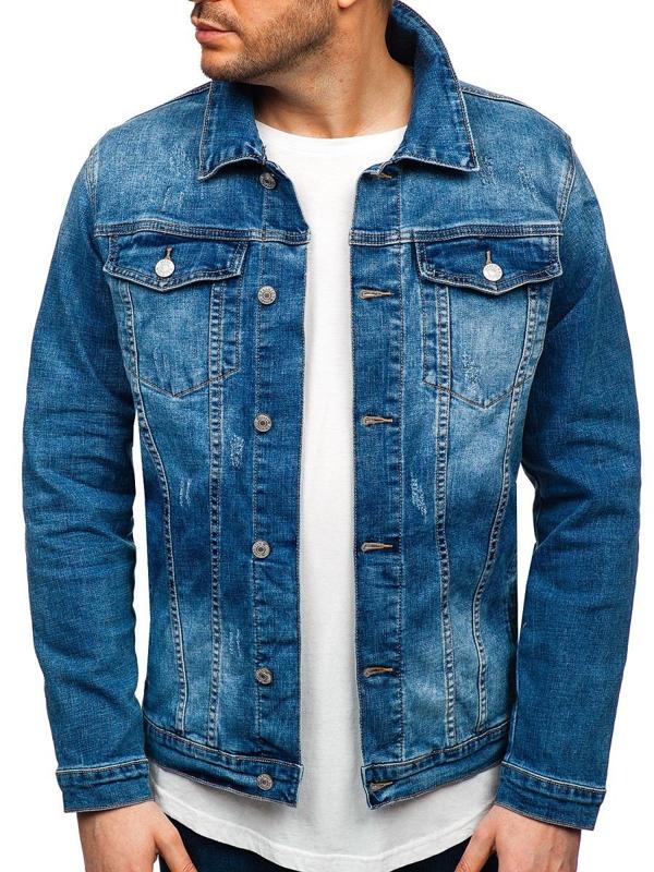 Чоловіча джинсова куртка темно-синя Bolf AK585