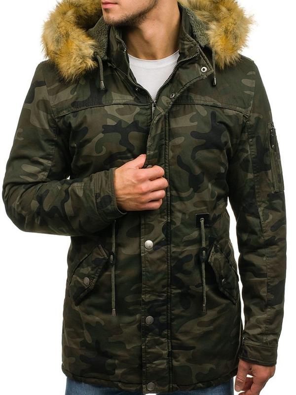 Чоловіча зимова куртка парка камуфляж-зелена Bolf 72224