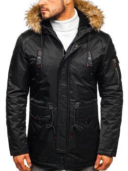 Чоловіча зимова куртка чорна Bolf 1080