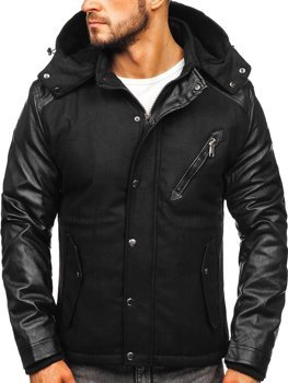 Чоловіча зимова куртка чорна Bolf 3356