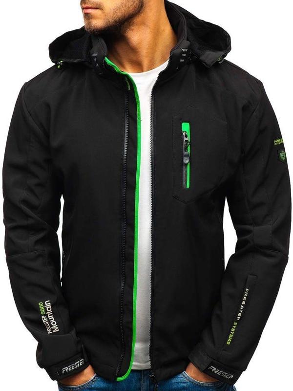 Чоловіча куртка софтшелл чорно-зелена Bolf P135-A