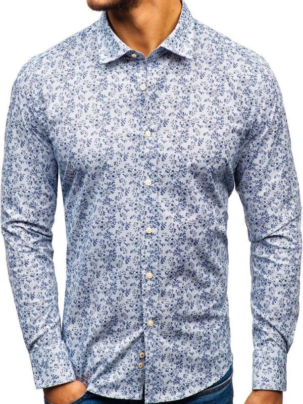 Чоловіча сорочка з візерунком з довгим рукавом біло-темно-синя 301G58