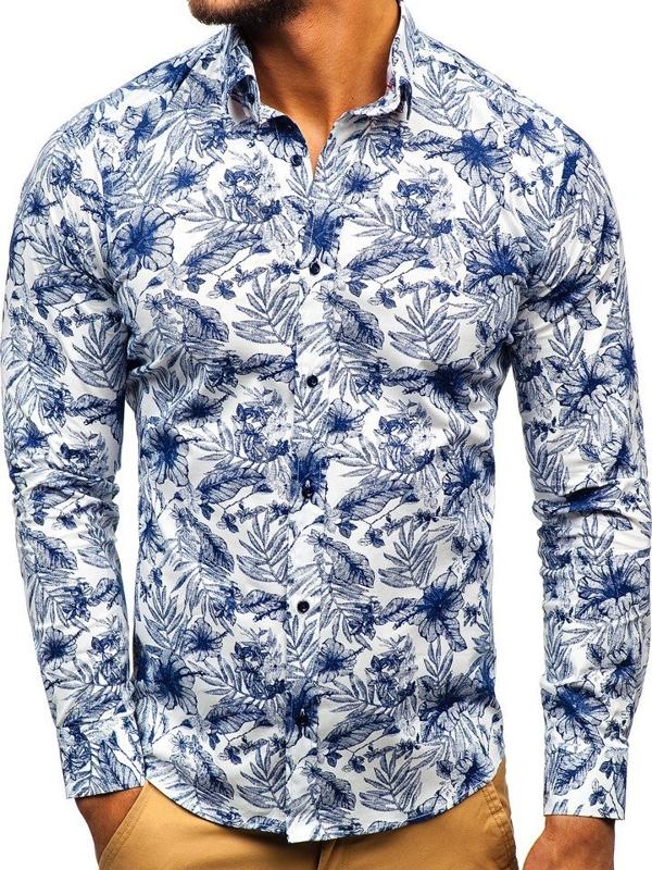 Чоловіча сорочка з візерунком з довгим рукавом біло-темно-синя Bolf 200G65