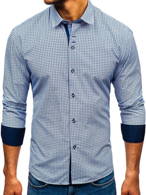 Чоловіча сорочка з візерунком з довгим рукавом біло-темно-синя Bolf 9702