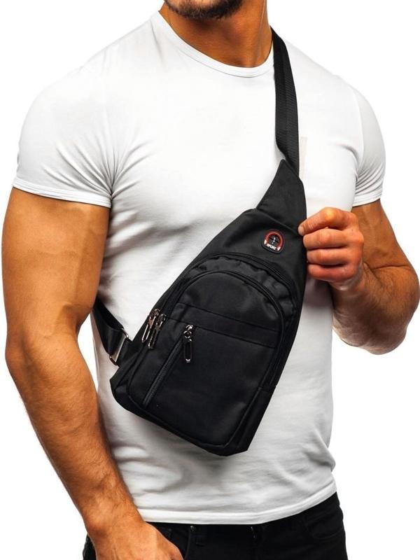 Чоловіча сумка через плече чорна Bolf T47