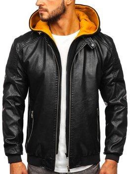 Чоловіча шкіряна куртка з капюшоном чорно-жовта Bolf 6132
