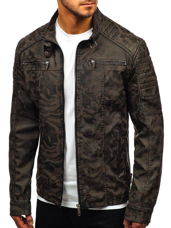 Чоловіча шкіряна куртка камуфляж-хакі Bolf EX920