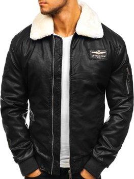 Чоловіча шкіряна куртка пілот чорна Bolf EX837