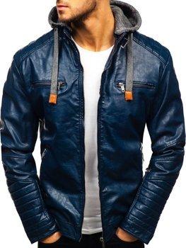Чоловіча шкіряна куртка темно-синя Bolf ex702