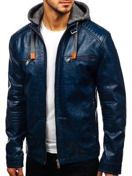 Чоловіча шкіряна куртка темно-синя Bolf ex705