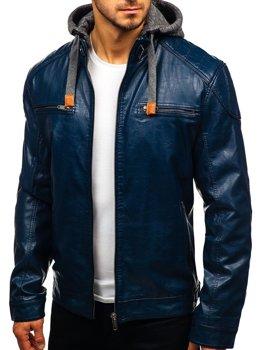 Чоловіча шкіряна куртка темно-синя Bolf ex706