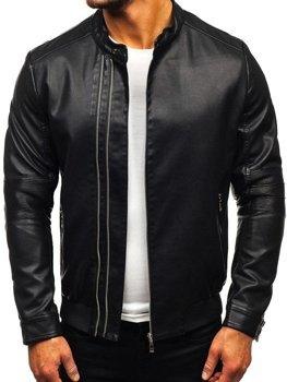 Чоловіча шкіряна куртка чорна Bolf 1073