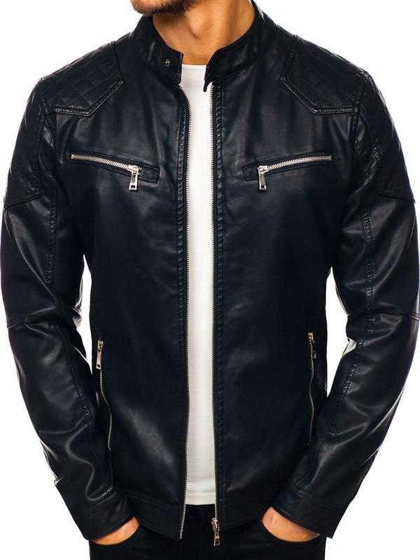 Чоловіча шкіряна куртка чорна Bolf 1078
