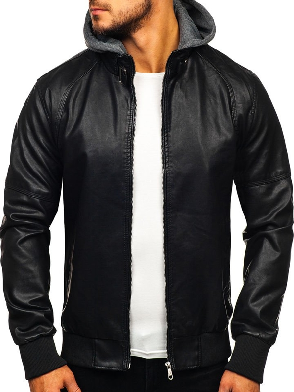 Чоловіча шкіряна куртка чорна Bolf 92524