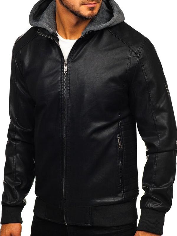 Чоловіча шкіряна куртка чорна Bolf 92525