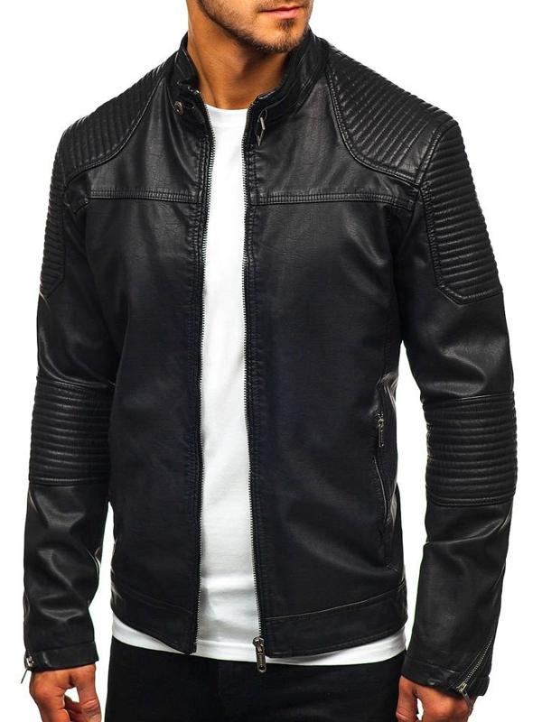 Чоловіча шкіряна куртка чорна Bolf EX911
