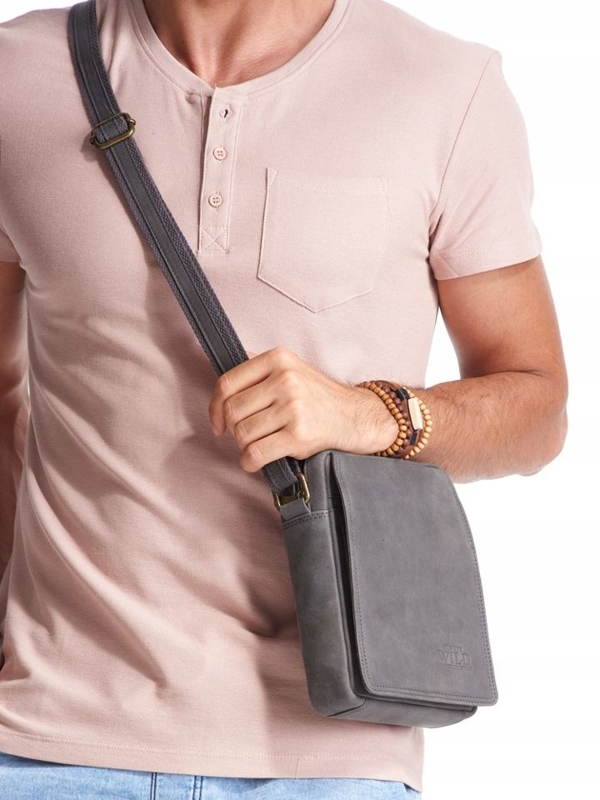 Чоловіча шкіряна сумка сіра 2481