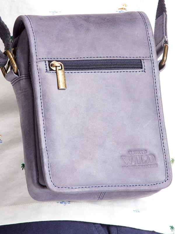 Чоловіча шкіряна сумка темно-синя 2480