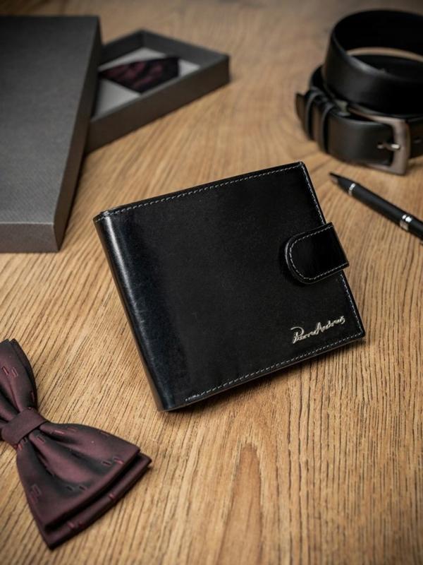 Чоловічий гаманець шкіряний чорний 1695