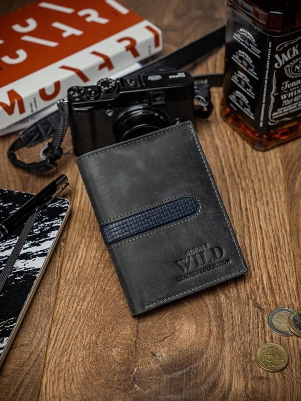 Чоловічий гаманець шкіряний чорний 2034