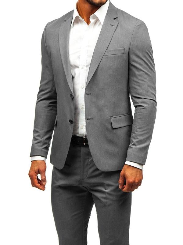 Чоловічий костюм сіро-темно-синій Bolf 19200