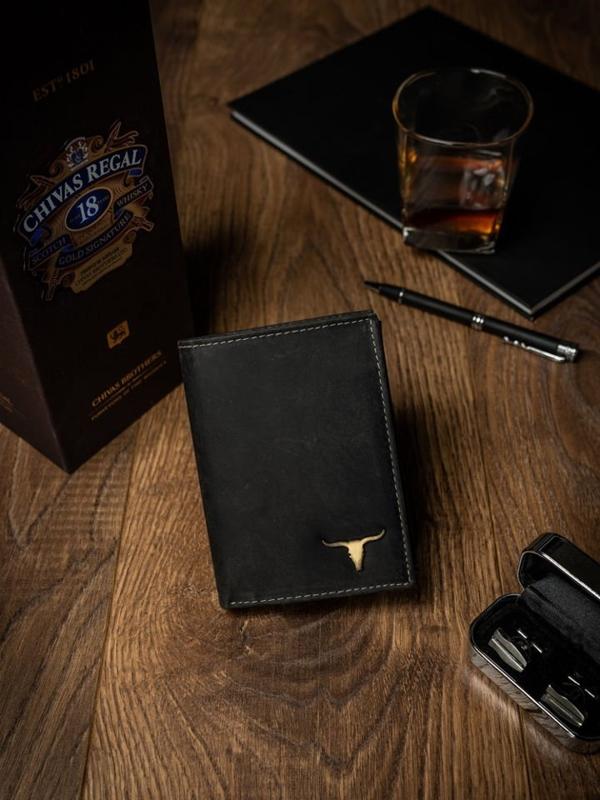 Чоловічий шкіряний гаманець чорний 498