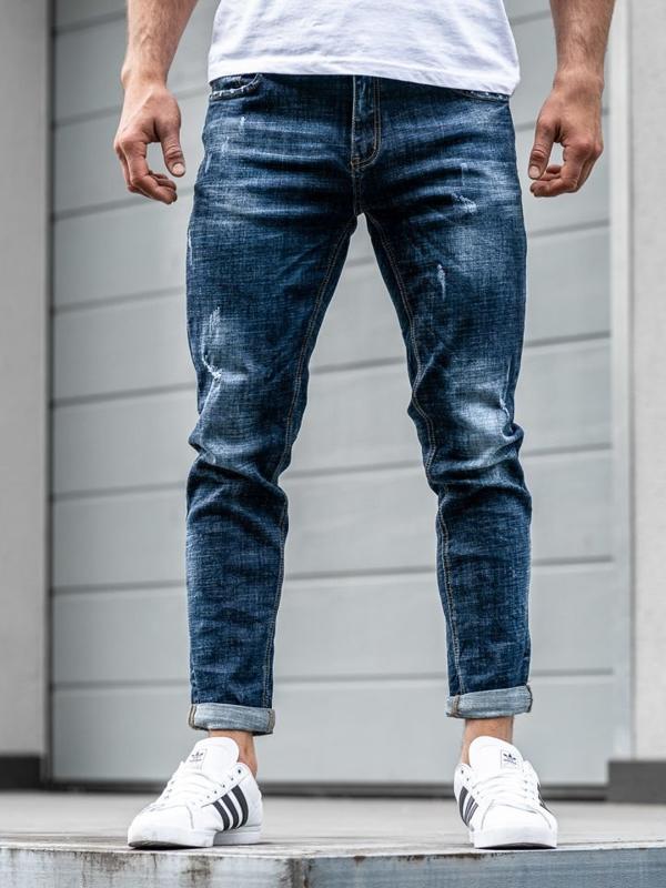 Чоловічі джинсові штани джоггери темно-сині Bolf KX271