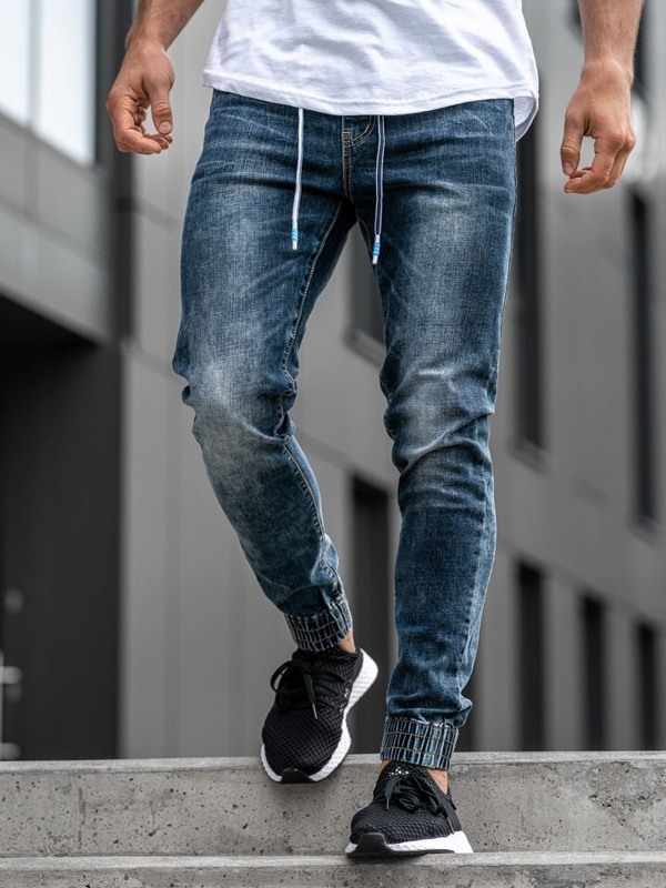Чоловічі джинсові штани джоггери темно-сині Denle KA680