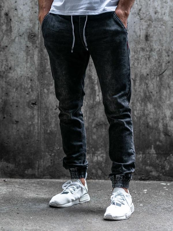 Чоловічі джинсові штани джоггери чорні Bolf KA1079
