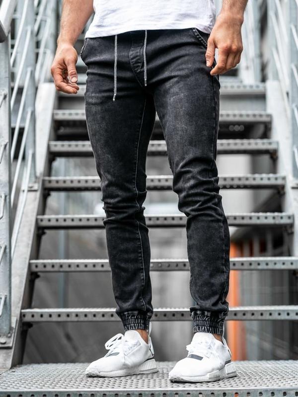 Чоловічі джинсові штани джоггери чорні Bolf KA1087