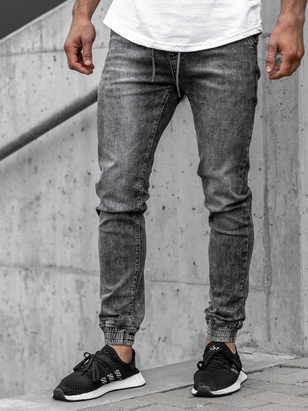 Чоловічі джинсові штани джоггери чорні Bolf KA1208