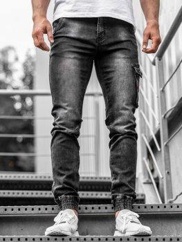 Чоловічі джинсові штани джоггери чорні Bolf KA738