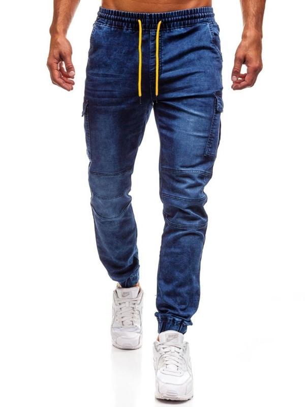 Чоловічі джинсові штани джогери темно-сині Bolf Y263